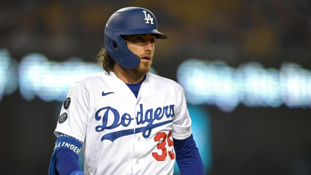 Sep 14, 2021; Los Angeles, California, USA;  Los Angeles Dodgers center fielder Cody Bellinger (35) reacts during his at bat against the Arizona Diamondbacks in the second inning at Dodger Stadium.
