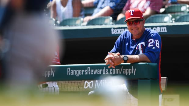 Sep 19, 2018; Arlington, TX, USA; Texas Rangers manager Jeff Banister (28) looks on during the first inning against the Tampa Bay Rays at Globe Life Park in Arlington. Mandatory Credit: Shanna Lockwood-USA TODAY Sports