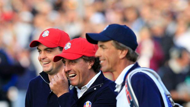 "Keegan Bradley, Phil Mickelson and Steve ""Pepsi"" Hale at the 2012 Ryder Cup."