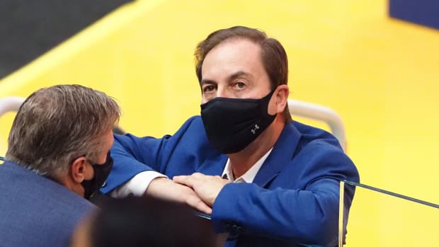 Jan 3, 2021; San Francisco, California, USA; Golden State Warriors majority owner Joe Lacob stands court side before the game against the Portland Trail Blazers at Chase Center.