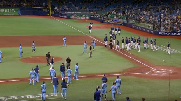 Rays and Blue Jays benches clear.