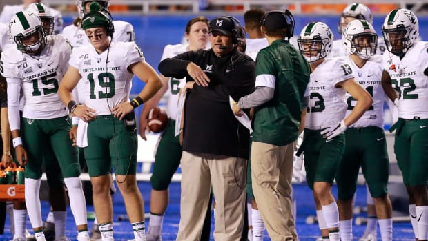 Portland State's Bruce Barnum on the sidelines.