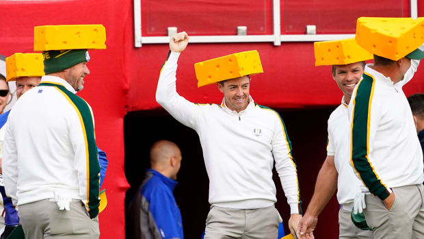 Rory McIlroy and his teammates wear cheeseheads Wednesday at Whistling Straits during the 43rd Ryder Cup.