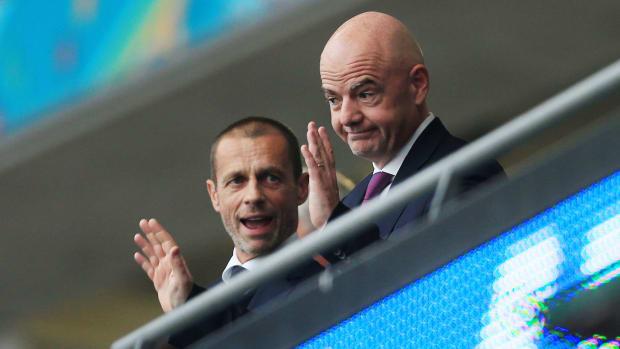 UEFA's Aleksander Ceferin and FIFA's Gianni Infantino