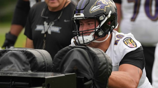 Jul 29, 2021; Owings Mills, MD, USA; Baltimore Ravens tackle Foster Sarell (69) practices blocking at the Under Amour Performance Center.