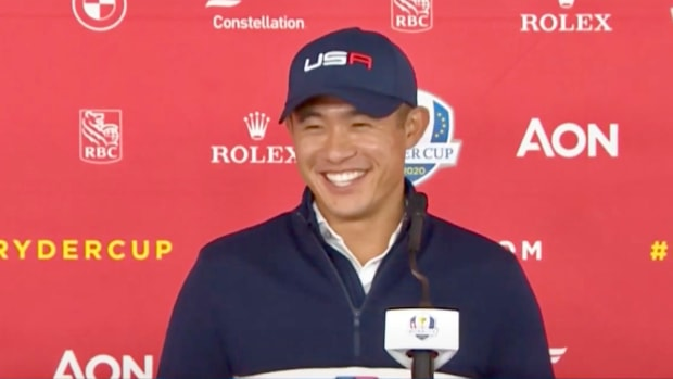 Collin Morikawa at his Ryder Cup news conference
