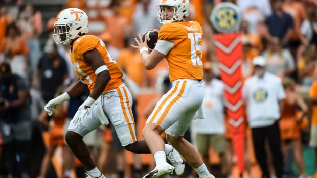 Sep 18, 2021; Knoxville, Tennessee, USA; Tennessee Volunteers quarterback Harrison Bailey (15) throws a pass during the second half against the Tennessee Tech Golden Eagles at Neyland Stadium. Mandatory Credit: Bryan Lynn-USA TODAY Sports