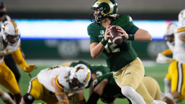 Colorado State Rams quarterback Patrick O'Brien (12) looks to make a pass in the first quarter of the game against the Wyoming Cowboys at Colorado State University in Fort Collins, Colo. on Thursday, Nov. 5, 2020 at Canvas Stadium.  110520 Csuvwyfb 08 Bb