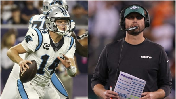 Panthers QB Sam Darnold with former Jets head coach Adam Gase