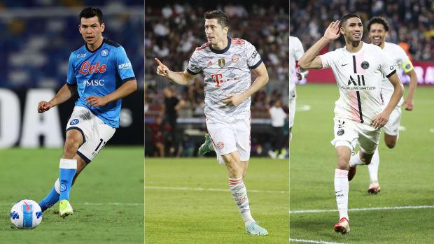 Napoli's Hirving Lozano, Bayern's Robert Lewandowski and PSG's Achraf Hakimi