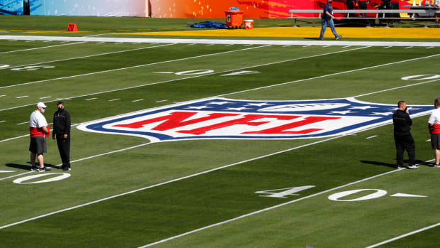 NFL logo on the field at Super Bowl LV