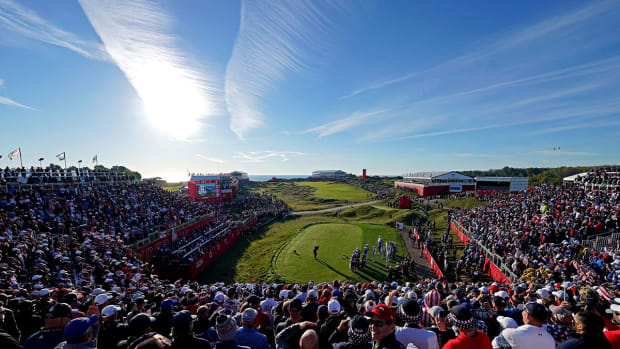 The first tee at the Ryder Cup.