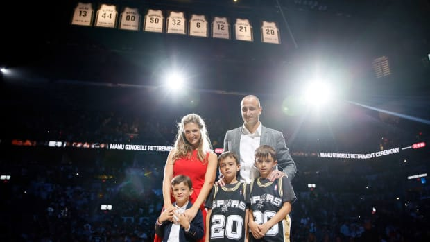 Mar 28, 2019; San Antonio, TX, USA; San Antonio Spurs former player Manu Ginobili poses for a photo with his family after his jersey retirement ceremony at AT&T Center after a game between the Cleveland Cavaliers and San Antonio Spurs.
