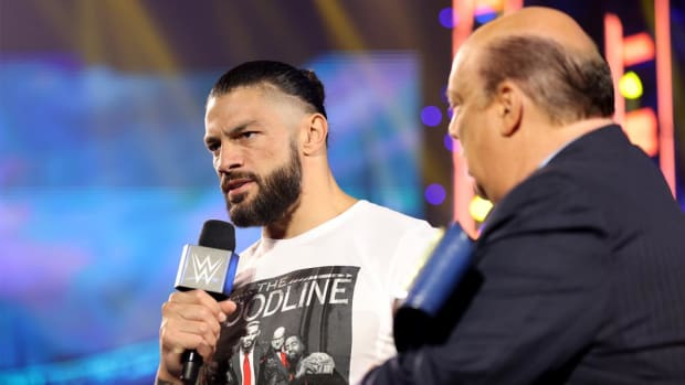 Roman Reigns cuts a promo on SmackDown