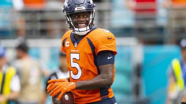 Broncos QB Teddy Bridgewater smiling