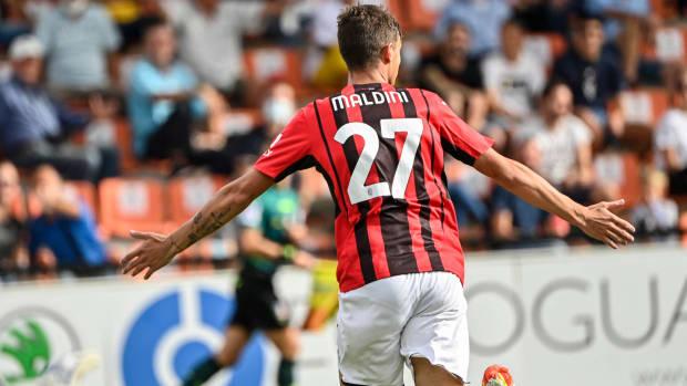 Daniel Maldini scores against Spezia.