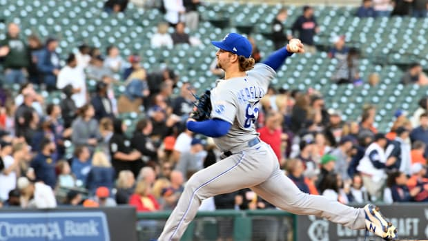Sep 25, 2021; Detroit, Michigan, USA; Kansas City Royals pitcher Jon Heasley throws against the Detroit Tigers in the third inning in at Comerica Park. Mandatory Credit: Dale Young-USA TODAY Sports