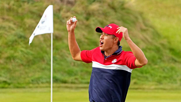 Collin Morikawa celebrates the 2021 American Ryder Cup victory.