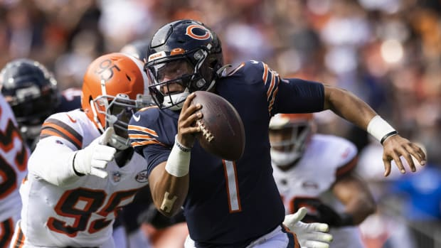 Sep 26, 2021; Cleveland, Ohio, USA; Cleveland Browns defensive end Myles Garrett (95) reaches for Chicago Bears quarterback Justin Fields (1) during the third quarter at FirstEnergy Stadium. Mandatory Credit: Scott Galvin-USA TODAY Sports
