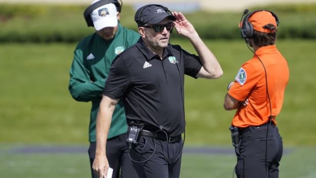 Sep 25, 2021; Evanston, Illinois, USA; Ohio Bobcats head coach Tim Albin walks the sideline during the first half against the Northwestern Wildcats at Ryan Field. Mandatory Credit: David Banks-USA TODAY Sports