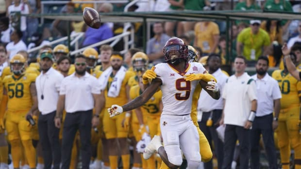 Sep 25, 2021; Waco, Texas, USA; Iowa State Cyclones wide receiver Joe Scates (9) is unable to catch a pass in the second half of the game against the Baylor Bears at McLane Stadium. Mandatory Credit: Scott Wachter-USA TODAY Sports