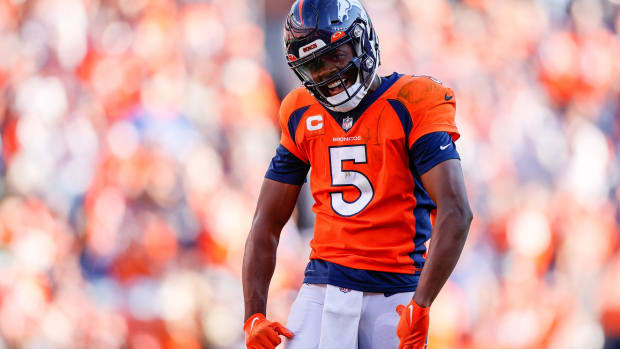 Denver Broncos quarterback Teddy Bridgewater (5) reacts after a play in the fourth quarter against the New York Jets at Empower Field at Mile High.