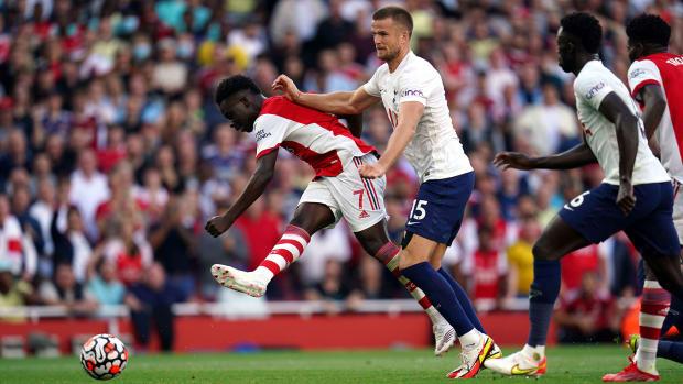 Bukayo Saka scores for Arsenal vs. Tottenham