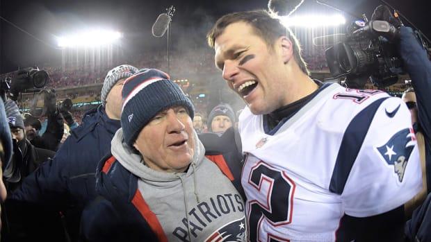 Bill Belichick celebrates with Tom Brady