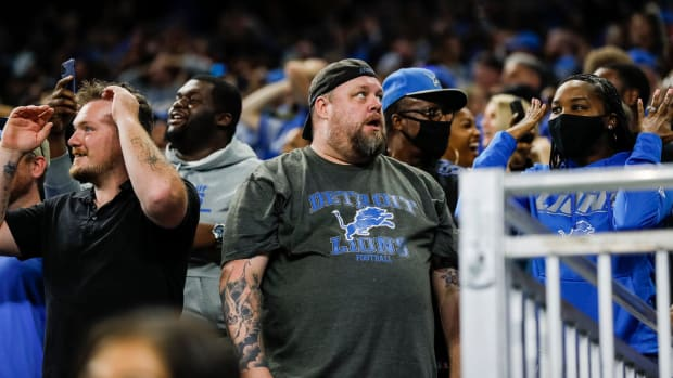 Lions fans react after Justin Tucker's field goal