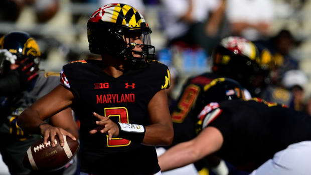 Sep 25, 2021; College Park, Maryland, USA; Maryland Terrapins quarterback Taulia Tagovailoa (3) throws from the pocket during the first half against the Kent State Golden Flashes at Capital One Field at Maryland Stadium.
