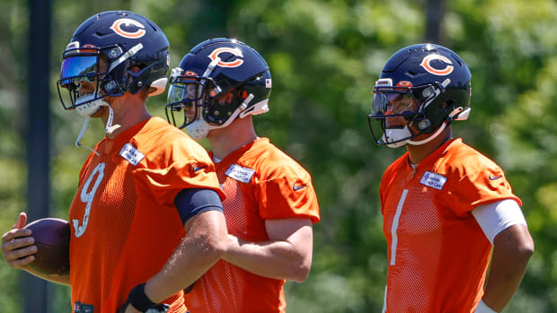 Nick Foles (left), Andy Dalton (middle), Justin Fields (right) with the Bears.