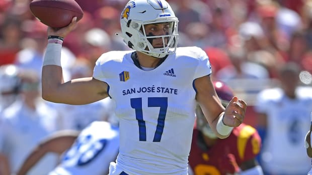Sep 4, 2021; Los Angeles, California, USA; San Jose State Spartans quarterback Nick Starkel sets to throw a pass in the first half of the game against the USC Trojans at United Airlines Field at Los Angeles Memorial Coliseum. Mandatory Credit: Jayne Kamin-Oncea-USA TODAY Sports