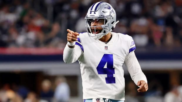 Dak Prescott celebrates during the Cowboys' Monday night victory over the Eagles