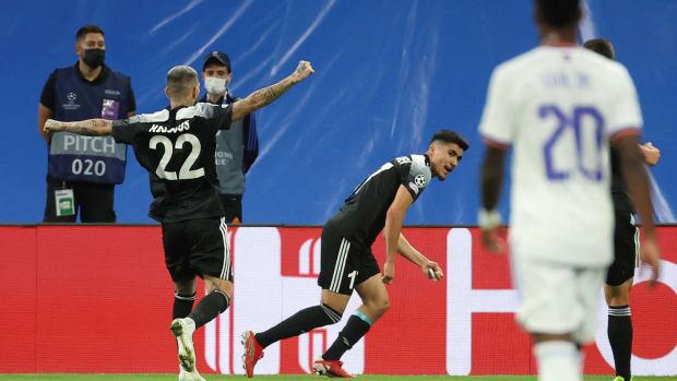 Sheriff celebrates a goal vs. Real Madrid
