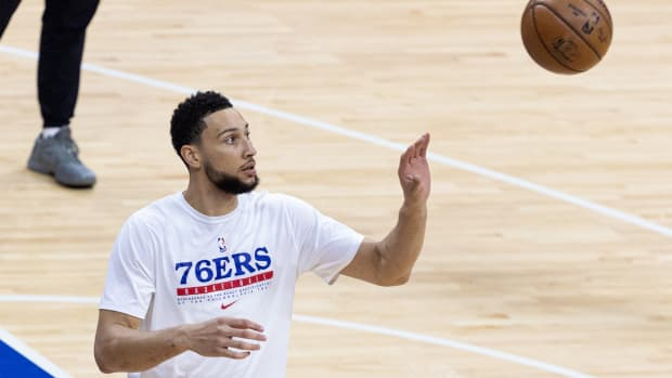 Jun 20, 2021; Philadelphia, Pennsylvania, USA; Philadelphia 76ers guard Ben Simmons warms up before game seven of the second round of the 2021 NBA Playoffs against the Atlanta Hawks at Wells Fargo Center.