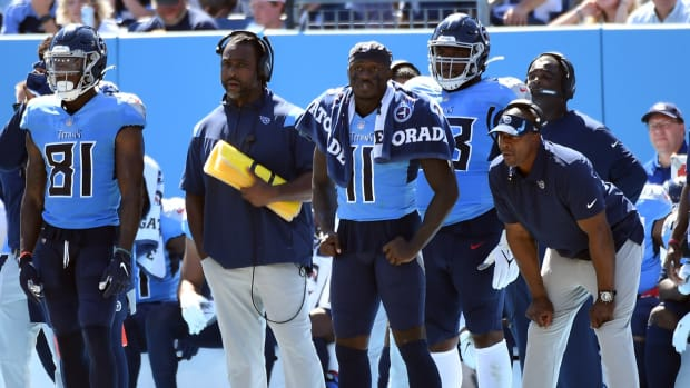 Tennessee Titans wide receiver A.J. Brown (11) looks on from the sideline after an injury during the first half against the Indianapolis Colts at Nissan Stadium.
