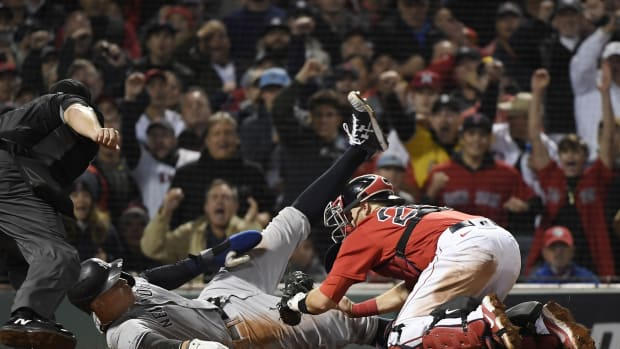 Aaron Judge tagged out at home plate vs. Boston Red Sox