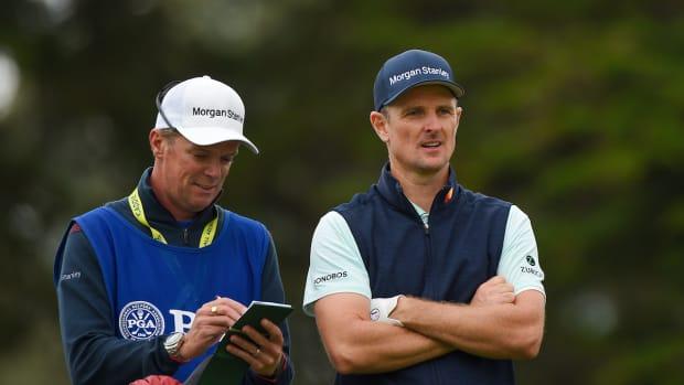 Justin Rose and caddie Gareth Lord at 2020 PGA Championship
