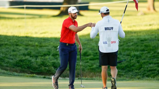 Matthew Wolff and caddie Nick Heinen after 3rd round of 2020 U.S. Open