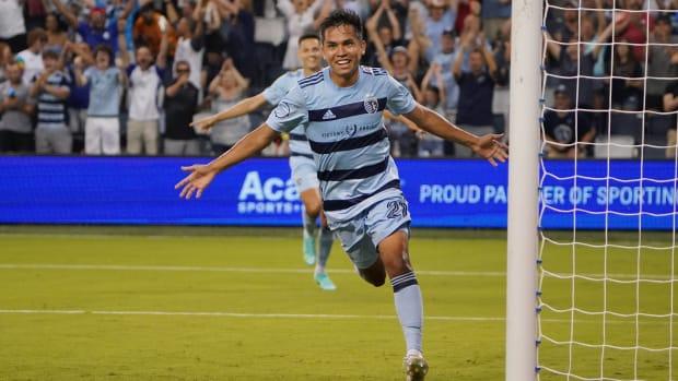 Sporting Kansas City midfielder Felipe Hernandez celebrates a goal