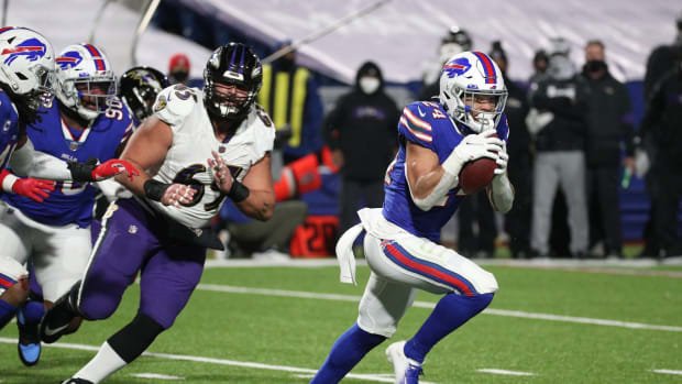 Bills cornerback Taron Johnson returns an interception 101 yards for a touchdown in a 17-3 win over the Ravens an AFC divisional playoff game.