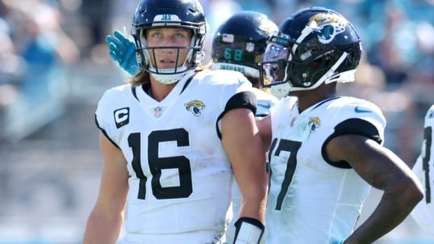 Jacksonville Jaguars wide receiver D.J. Chark (17) comforts quarterback Trevor Lawrence (16) after he was sacked and turned over the ball with just over four minutes to play in the fourth quarter. The Jacksonville Jaguars hosted the Arizona Cardinals at TIAA Bank Field in Jacksonville, FL Sunday, September 26, 2021. The Jaguars went into the half with a 13 to 7 lead but fell to the Cardinals with a final score of 19 to 31.
