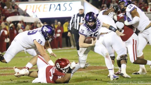 TCU Quarterback rushes at Oklahoma in 2019.