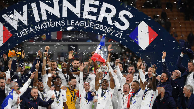 France celebrates winning the Nations League title.