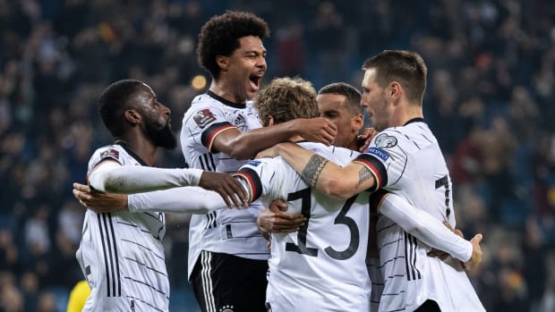Germany celebrates a goal in qualifying