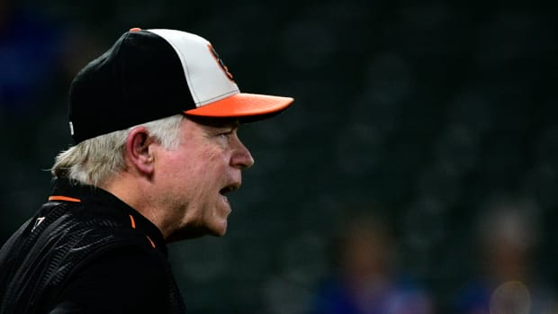 Sep 17, 2018; Baltimore, MD, USA; Baltimore Orioles manager Buck Showalter (26) calls for the umpire during the third inning against the Toronto Blue Jays at Oriole Park at Camden Yards. Mandatory Credit: Tommy Gilligan-USA TODAY Sports
