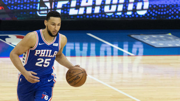 Ben Simmons in the NBA Playoffs last year.