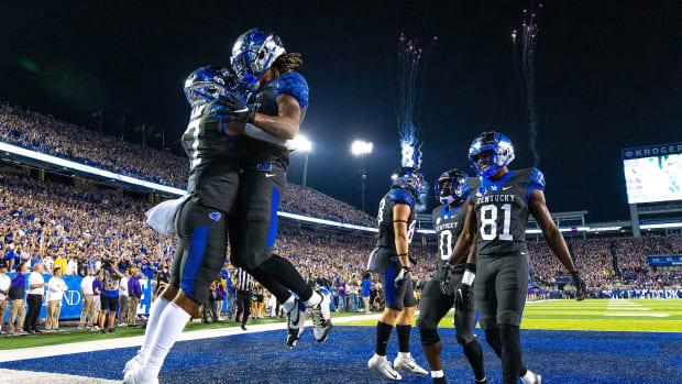 Kentucky celebrates a touchdown against LSU