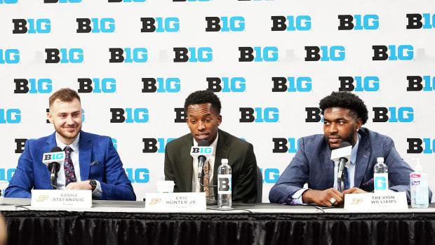 Purdue basketball players at Big Ten media days