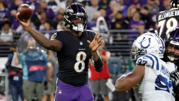 Lamar Jackson throws a pass during the Ravens' comeback win against the Colts on Monday Night Football